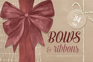 Bows & Ribbons. Watercolor Set