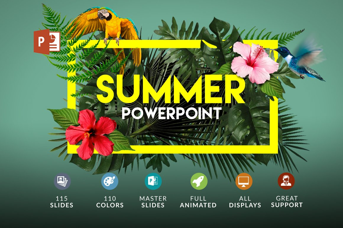 Summer Powerpoint Bonus Presentation Templates Creative Market - Best of ppt flowers scheme