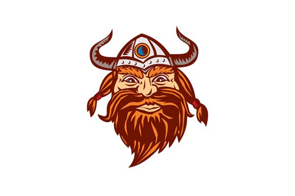Viking Warrior Head Angry Isolated