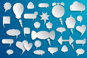 Blank empty white speech bubbles.