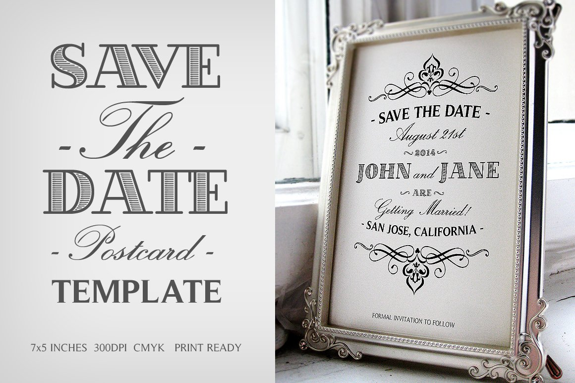 save the date postcard template v 1 invitation templates creative market. Black Bedroom Furniture Sets. Home Design Ideas