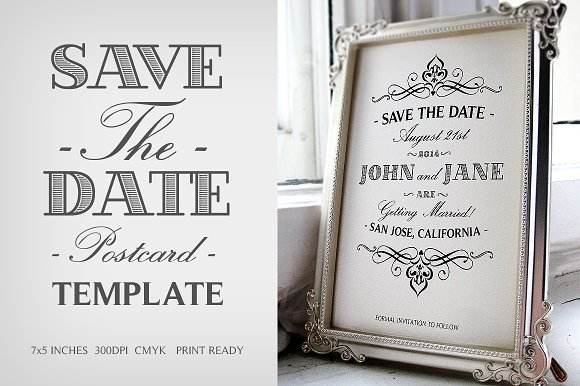 save the date postcard template v 1 invitation templates on creative market. Black Bedroom Furniture Sets. Home Design Ideas