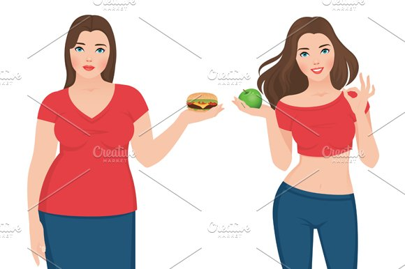 Before and after weight loss woman in Illustrations