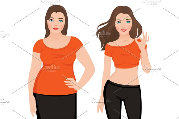 Before and after weight loss woman in Illustrations - product preview 1