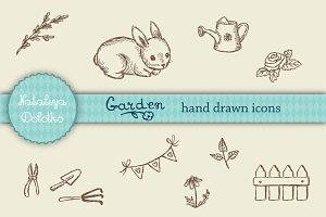 Vector hand drawn garden icons set