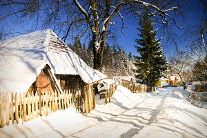 Winter house in forest