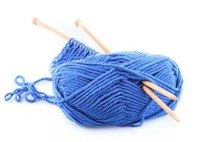 Blue knitting isolated