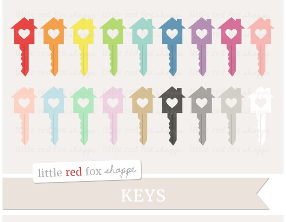 Heart House Key Clipart ~ Illustrations on Creative Market