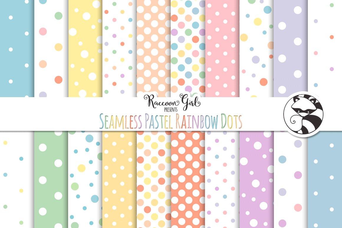 Seamless Pastel Rainbow Polka Dots Graphic Patterns