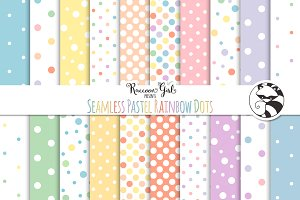 Seamless Pastel Rainbow Polka Dots