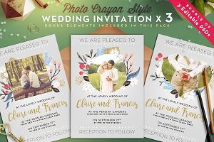[-50%] Photo Crayon Wedding Invite I