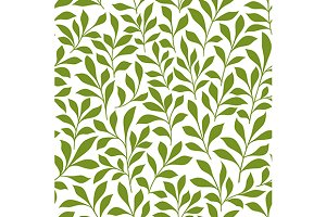 Green spring leaves seamless pattern