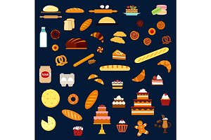 Bakery and pastry flat icons