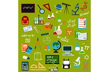 School supplies and education icons