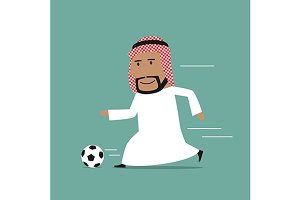 Arab businessman playing soccer