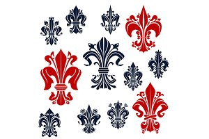 Fleur-de-lis red and blue symbols