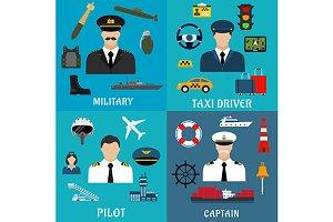 General, captain, pilot, taxi driver