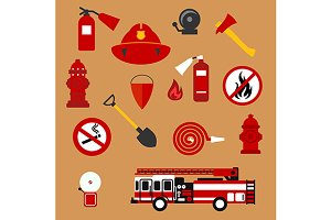 Fire safety and protection icons