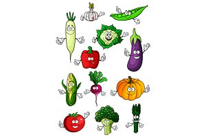 Cartoon farm vegetables