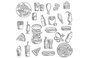 Fast food snacks and takeaway drinks