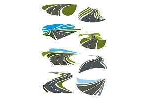 Roads and highway icons set