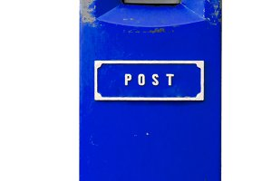 Blue postbox isolated