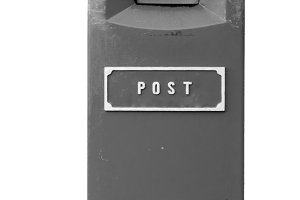 Black and white postbox isolated
