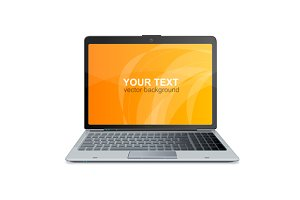 Laptop Isolated and Text.Vector