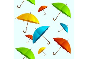 Seamless Pattern Umbrellas Flying