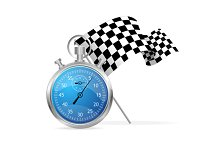 Blue Stopwatch and Flag. Vector