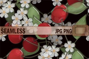Seamless texture flowers cherry