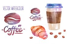 Vector watercolor coffee objects