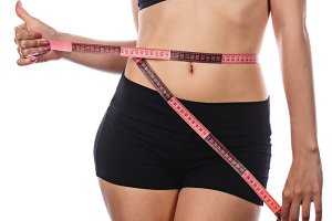 Weight loss. Shows thumb up.