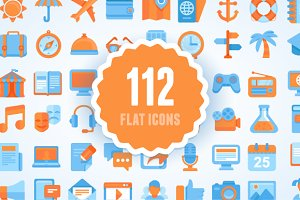 Flat set. 112 vector icons, 7 themes