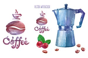 Vector watercolor coffee objects 2