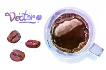 Vector watercolor coffee objects 3