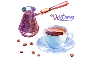 Vector watercolor coffee objects 4
