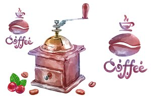 Vector watercolor coffee objects 5