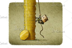 business man climbing a stack of coins