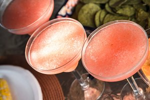 Strawberry margarita cocktails
