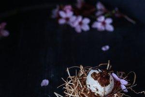 Quail egg and cherry flowers