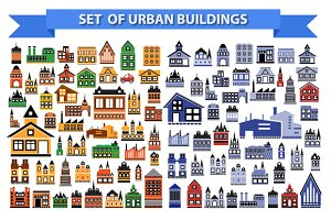Set of urban buildings