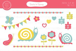 Snails In Spring Clip Art Set