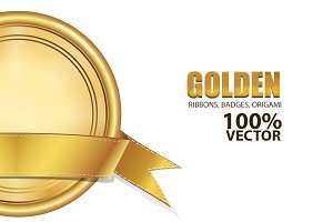 Golden Ribbons, Badges,Origami Set
