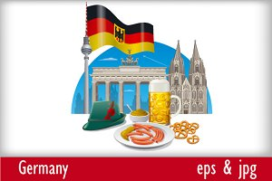 Germany Landmarks and Flag