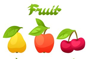 Set of stylized fresh fruits.