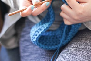 Girl Doing Handmade Crochet