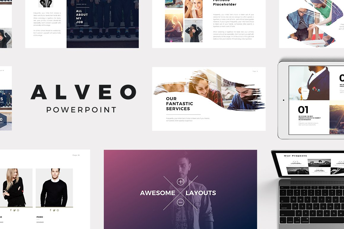 alveo minimal powerpoint template presentation templates creative market - Minimalist Powerpoint Template Free 2