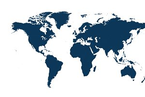 World map vector flat blue