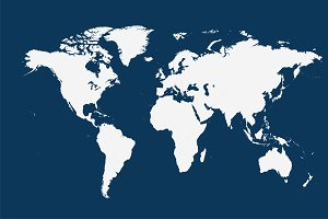 World map vector flat white